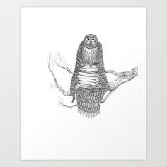 The Owl- Feathered Art Print by Polanshek http://society6.com/JessPolanshek
