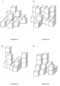 Voorbeeldkaarten 3d (extra moeilijk) voor de bouwhoek of het bouwen met de kleine blokjes.
