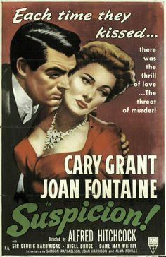 Suspicion Cary Grant, Joan Fontaine, Cedric Hardwicke, Nigel Bruce Alfred Hitchcock directs a thriller about a woman who thinks that her husband is plotting to murder her. Old Movie Posters, Classic Movie Posters, Cinema Posters, Film Posters, Classic Movies, Alfred Hitchcock, Hitchcock Film, Cary Grant, Old Movies