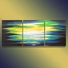 Blue Original acrylic painting canvas triptych painted on three canvases Three Canvas Painting, Multiple Canvas Paintings, Canvas Art, Disney Paintings, Painting Wallpaper, True Art, Triptych, Painting Inspiration, Art Projects