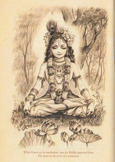 Krishna meditates