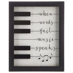 album art Music is good for the heart and the soul. Music Speaks Framed Wall Decor features a cream background, a black MDF frame, and a glass front with gorgeous script and music notes inco Diy Wall Decor, Music Wall Decor, Music Wall Art, Wall Decor Quotes, Music Room Decorations, Christmas Wall Decorations, Piano Room Decor, Music Studio Decor, Music Notes Art