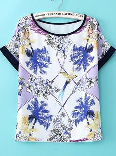 White Short Sleeve Floral Chiffon T-Shirt US$18.00