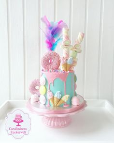💕 Dripcake - Bomb 💕 - Cake by Carolinchens Zuckerwelt Candy Birthday Cakes, Ice Cream Birthday Cake, Candy Cakes, Birthday Cake Girls, Cupcake Cakes, Bomb Cake, Buttercream Cake Designs, Beautiful Birthday Cakes, Barbie Cake