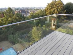 Frameless Glass Railing Balconies Composite Decking and Frameless Glass Balustrade RoofTop Balcony Patio Railing, Balcony Railing Design, Balcony Deck, Bedroom Balcony, Outdoor Balcony, Rooftop Deck, Decking Glass Balustrade, Balcony Glass Design, Ladders