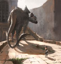 "of Light and Dark - anna-antoshchenkova: Трикооха. spassundspiele: ""The Last Guardian – fan art by Charles Lee ""spassundspiele: ""The Last Guardian – fan art by Charles Lee "" Shadow Of The Colossus, Fantasy Creatures, Mythical Creatures, Fantasy World, Sci Fi Fantasy, Fanart, Manga Dragon, Fantasy Beasts, Video Game Art"