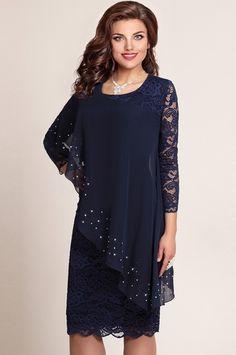 Платье VITTORIA QUEEN, Темно-синий (модель 973/4) — Белорусский трикотаж в интернет-магазине «Швейная традиция»