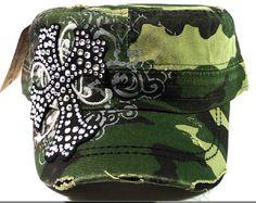 Dark Camo and Black Cross Bling Distressed Cadet Cap Hat, $17.99