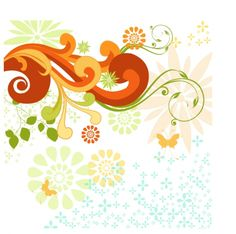 FLOWERS / Free vector Vector flower Swirls and Flowers