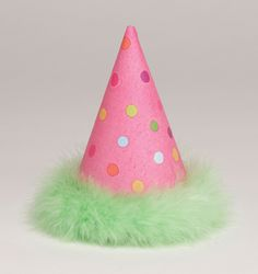 Polka Dot Party Hat with Green Marabou Trim (set of from Australia's Party Supplies. Party hats for every birthday! Birthday Star, Pink Birthday, First Birthday Parties, It's Your Birthday, First Birthdays, Polka Dot Party, Polka Dots, Kids Party Themes, Party Ideas