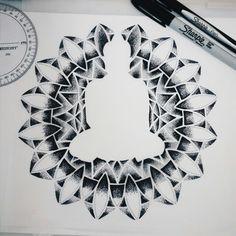 Dotwork buddha #blackspottattoocompany #handpoked #dotwork #machinefree #tattoos #sketches #sacredgeometry
