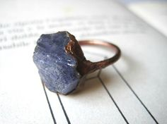 Copper ring with rough tanzanite stone size 7 US // O UK