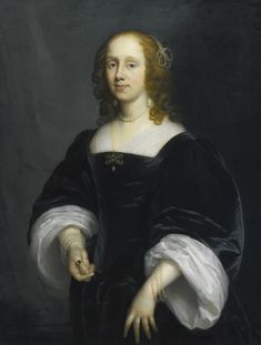 17Cornelis Janssens van Ceulen LONDON 1593 - 1661 UTRECHT PORTRAIT OF A LADY IN BLACK signed and dated lower left: Cor Jonson V Ceulen/fecit 1652