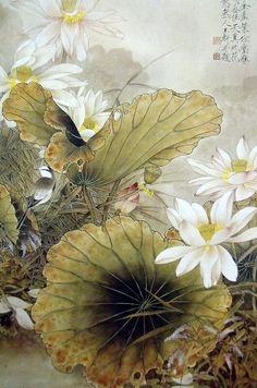 "Photo from album ""Китай Живопись"" on Yandex. Oriental Flowers, Gold Leaf Art, Lotus Art, Japan Painting, Large Canvas Wall Art, Art Japonais, Bird Artwork, China Art, Chinese Painting"