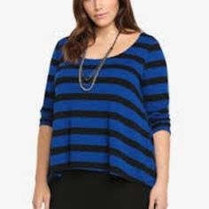 Torrid plus size knit layered striped top Blue and black striped top plus size torrid 2 torrid Tops