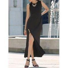 #trendsgal.com - #Trendsgal Round Neck Sleeveless High Slit Maxi Dress - AdoreWe.com