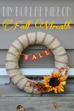 DIY Burlap Ribbon Fall Wreath from Lovely Little Life {TUTORIAL) http://www.gingersnapcrafts.com/2013/09/diy-burlap-ribbon-fall-wreath-from.html