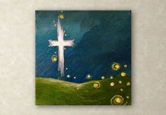 """Midnight Cross: Magical Midnight Sky  A miniature acrylic painting, featuring a beautiful cross in the night sky . . . and a touch of magic in the air!  4"""" x 4"""" and 3/4"""" thick  The sides of the painting are all painted, so it is ready to go up on the wall.  I hope you enjoy this sweet gem of a piece!  $45"""