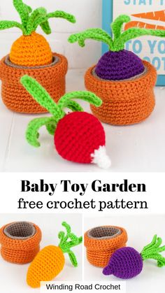 The amigurumi container garden, This crochet toy is great for kids and babies. If uses easy amigurumi techniques to complete this free crochet pattern. Fruits En Crochet, Crochet Food, Cute Crochet, Crochet For Kids, Spiral Crochet Pattern, Crochet Amigurumi Free Patterns, Crochet Baby Toys, Crochet Dolls, Crochet Hats