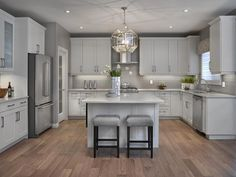 Transitional Gray U0026 White Kitchen. See More. I Like How The Cabinets Above  The Refridge. Are Farther Out That The Neighboring Cabs
