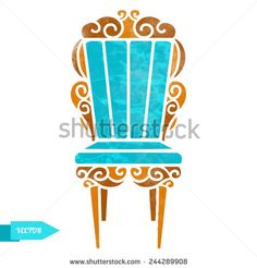 Watercolor vintage chair with pattern closeup isolated on a white background - stock vector