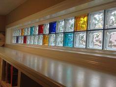 Eye popping Piet Mondrian inspired colored glass block transom highlights a new studio office space Bathroom Window Glass, Brick Bathroom, Frosted Glass Window, Window In Shower, Bathroom Windows, Glass Block Basement Windows, Glass Blocks Wall, Window Blocks, Block Wall