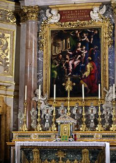 Rom, Santa Maria dell' Anima, Hochaltar, hl. Familie mit den Heiligen Markus und Jakobus von Giulio Romano | da HEN-Magonza