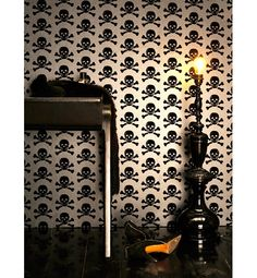 Black Wallpaper for Mysterious Room, Wall Decor Skull Wallpaper, Black Wallpaper, Wallpaper Awesome, Funky Wallpaper, Gothic Wallpaper, Office Wallpaper, Feature Wallpaper, Boys Wallpaper, Unique Wallpaper