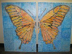 Canvas art butterfly art mural. Got the idea from Art Projects for Kids blog. Group project for school art fundraiser