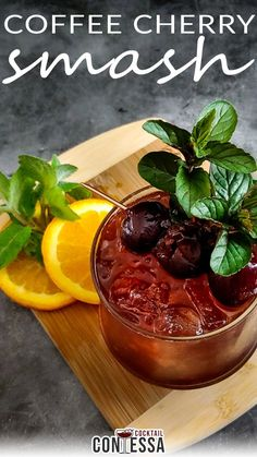 Coffee Cherry Smash Cocktail. I blew my own mind with this flavor combination for this Coffee Cherry Smash. I had been thinking about the coffee syrup I had on hand from the previous coffee cocktails, the Breakfast Wakey Wakey and the Coffee Manhattan, and decided I wanted to pair it in a smash. Of all the fresh and frozen fruits I had available, cherries were the best match, although it works surprisingly well with...   @cocktailcontessa #bourboncocktail #ryecocktail #craftcocktails Sweet Cocktails, Bourbon Cocktails, Coffee Cocktails, Craft Cocktails, Cocktail Recipes, Holiday Cocktails, Drinks, Frozen Cherries, Sweet Cherries