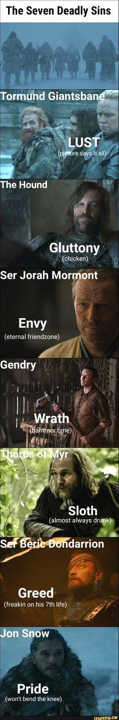 Game of thrones season 7 funny humour meme, seven deadly sins. Jon Snow, Kit Harington, Jorah Mormont, the Hound