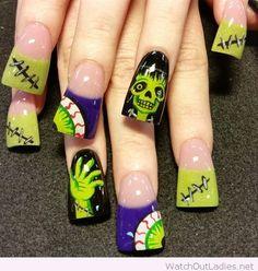 Frankenstein nail art for Halloween