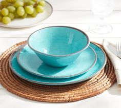 Shop Pottery Barn for bold and bight swirl dinnerware. Browse our melamine dinnerware collections and find plates and bowls with a hand painted swirl design. Outdoor Dinnerware, Melamine Dinnerware, Tableware, Kitchenware, Dinnerware Ideas, White Dinner Plates, Dinner Plate Sets, Dinner Ware, Verde Aqua