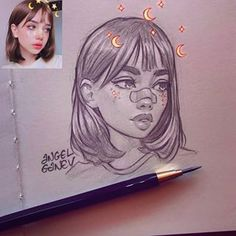 Portrait sketch of ? Love the cutie style and the lil stars and stuff ☺️✨ Portrait sketch of Ani S. Love the cutie style and the lil stars and stuff ☺️✨ Secrets Of Drawing Most Realistic Pencil Portraits - - Angel Ganev (Angel Ganev) What is i Girl Drawing Sketches, Portrait Sketches, Pencil Art Drawings, Drawing Tips, Tumblr Drawings, Pencil Drawing Tutorials, Pen Sketch, Arte Inspo, Art Sketchbook