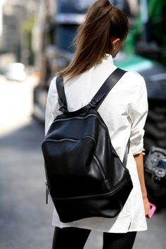 A slouchy black backpack is perfect for a casual day! And it has to be black of course #FashionInspo