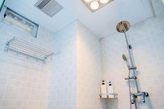 Tiled Shower With Corner Storage Shelf