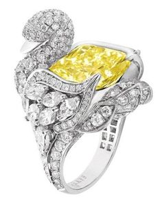 Graff diamond and yellow diamond swan ring