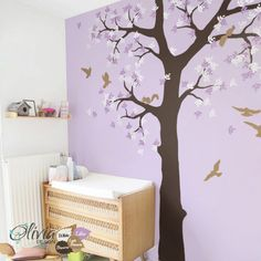 Baby nursery Tree vinyl wall decal with birds and squirrels, Kids room mural, sticker -NT036