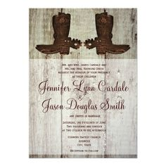 handmade invitations for western/cowboy wedding | Country Western Cowboy Boots Wedding Invitations from Zazzle.com