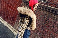 Womens+Korea+New+Faux+Raccon+Fur+Hooded+Winter+Leopard+Print+Short+Outwear+Coat