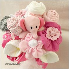 New Baby Gift Bouquet for Girl  Pink Elephant by LovelyLittlesLLC