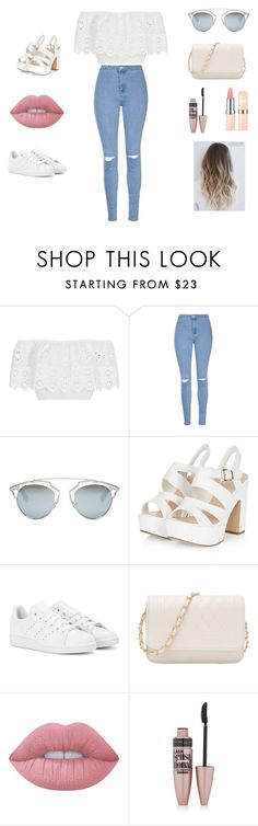"""""""school outfit"""" by joana-vilela on Polyvore featuring Miguelina, Glamorous, Christian Dior, adidas, Lime Crime and Maybelline"""