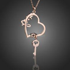 18K Rose Gold GP Heart and Key Love Pendant Necklace with Swarovski Crystal, unit price of $6.84 only  http://www.yesfor.com/p/18k-rose-gold-gp-heart-and-key-love-pendant-necklace-with-swarovski-crystal-55284.html?utm_source=SNS&utm_medium=PINTEREST&utm_campaign=jty