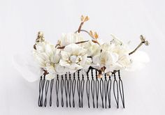Rustic Hair Comb Cream Flower Comb Woodland Hair by HandyCraftTS