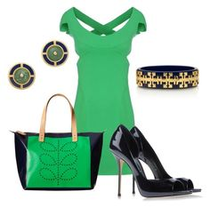 """""""Navy and green........"""" by grlowry ❤ liked on Polyvore featuring Dsquared2, Orla Kiely, Casadei and Tory Burch"""