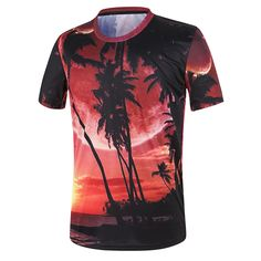 Sale 23% (15.33$) - Mens Summer Coconut Beach 3D Painting T-Shirts O-neck Collar Short Sleeve Tees