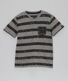 Take a look at this Light Gray & Camo Stripe V-Neck Tee - Infant, Toddler & Boys by Calvin Klein Jeans on #zulily today!
