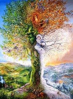 Josephine Wall - Tree of Four Seasons Revisited. Each of the four seasons is depicted in this special tree. Josephine Wall, Fantasy Kunst, Fantasy Art, Fantasy Landscape, Graffiti Kunst, Illustration, Heaven On Earth, Tree Art, Tree Of Life