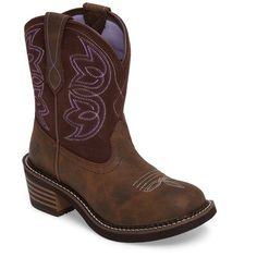 Women's Ariat Western Boot ($110) ❤ liked on Polyvore featuring shoes, boots, toasted brown leather, leather cowboy boots, brown boots, leather boots, long leather boots and leather western boots