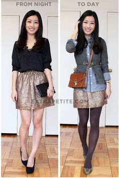 Two looks with one skirt.